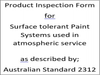 PIF for paint systems specified for surface tolerent coatings on carbon steel as described by Australian Standard 2312
