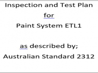 ITP for paint system ETL1 as described by Australian Standard 2312