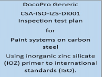 ITP for paint systems using an inorganic zinc sillicate (IOZ) primer and subsequent top coats to international standards (ISO).