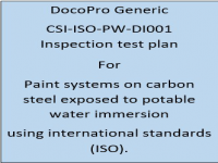 A Generic ITP developed by DocoPro for paint systems specified for potable water immersion using international standards (ISO).