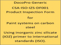 A Generic PIF developed by DocoPro for protective coating systems using inorganic zinc sillicate (IOZ) primer to international standards (ISO).