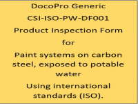 A Generic PIF developed by DocoPro for paint systems specified for potable water immersion using international standards (ISO).